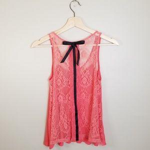 Pins & Needles Coral/Black Bow Lace Back Tank Top